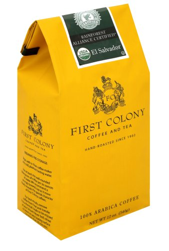 First Colony Organic El Salvador Rainforest Alliance Certified Medium Roast Coffee, 12-Ounce Bags (Pack of 3)