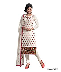 Yehii Women's Cotton Beige Plain / Solid dress material Unstitched Salwar Kameez Dupatta for women party wear low price Below Sale Offer