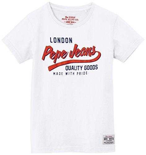 Pepe Jeans Jungen T-Shirt, DALLAS, GR. 176 (Herstellergröße: 16 ans), Weiß (Optic White)