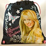 2008 - Disney - GDC - Hannah Montana - Popstar Princess - Denim Drawstring Bag - w/ Backpack Straps - 100% Cotton - Limited Edition - Rare - New