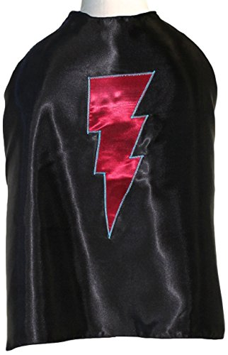 Superfly Kids Black Superhero Cape with A Red Lightning Bolt