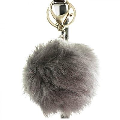 Shopping-et-Mode - Porte-clés bijou de sac pompon gris en fourrure synthétique - Gris, Synthétique