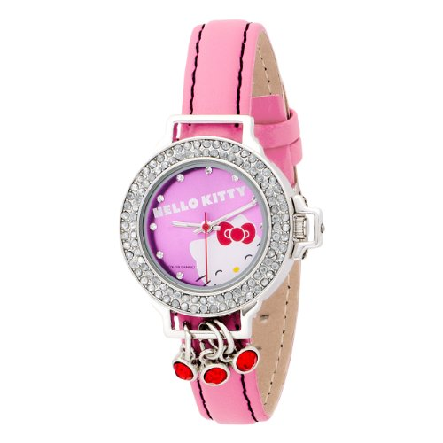 Hello Kitty Kids' HK1447 Silver Case Gem Accented Face Dial Pink Strap Watch
