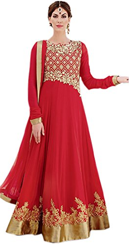 Exotic India Tomato-Red Bridal Long Anarkali Suit with Floral Gold Embroid - RedGarment Size Medium