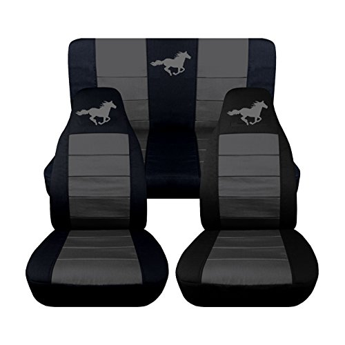 2005 2006 2007 Ford Mustang Front and Rear Runnng Horse Seat Covers (8 Color Options) (Coupe, Black and Charcoal) (Mustang Seat Covers compare prices)