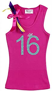 Bubblegum Divas Big Girls' Sweet 16 Birthday Princess Pink Crown Tank Top Shirt 12-14