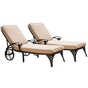 Home Styles Biscayne Chaise Lounge Chair Taupe Cushion Patio