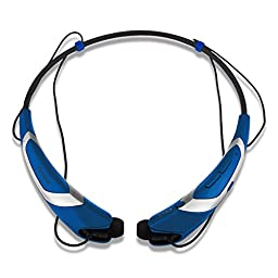 Bluetooth Headphones Headset Rymemo Metallic-feeling Soft Polishing Wireless Earphones Stereo Music Earbuds Sports Magnetic Neckband Style for Cellphone, Silver-Blue