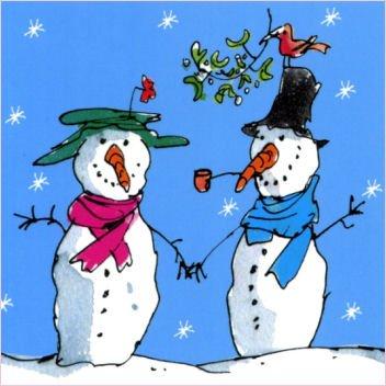 Pack of 10 Quentin Blake Shelter & St Mungo's Charity Christmas Cards - Snowmen, Robin, Mistletoe