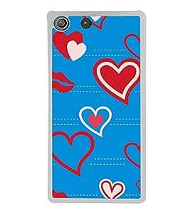 Heart and Lips Pattern 2D Hard Polycarbonate Designer Back Case Cover for Sony Xperia M5 Dual :: Sony Xperia M5 E5633 E5643 E5663