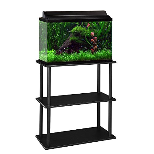 Aquatic Fundamentals 10/20 Gallon Aquarium Stand with Shelf, Black