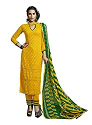 Suchi Fashion Embroidered Yellow Georgette Dress Material