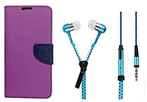 Novo Style Wallet Case Cover For Samsung Galaxy J5 (2016) Purple + Zipper Earphones/Hands free With Mic 3.5mm jack