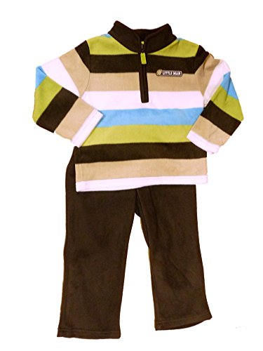 Carters Infant Boys 2 Piece Little Man Outfit Striped Fleece Jacket & Pants Set