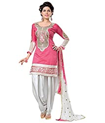 S Prashant Vogue Pink Chanderi Straight Embroidered Unstitched Dress Material