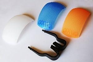 Set 3 Diffusori Flash Bianco Arancio Azzurro Universali per Nikon Canon...