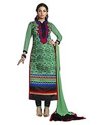 Prafful Green Chanderi Cotton Embroidered Unstitched Dress Material