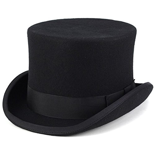 CHRISTYS' LONDON 帽子 トップハット クリスティーズロンドン シルクハット ウール100%の上質 フェルトハット メンズ レディース 秋冬 ブラック 黒 L(約57.5cm)