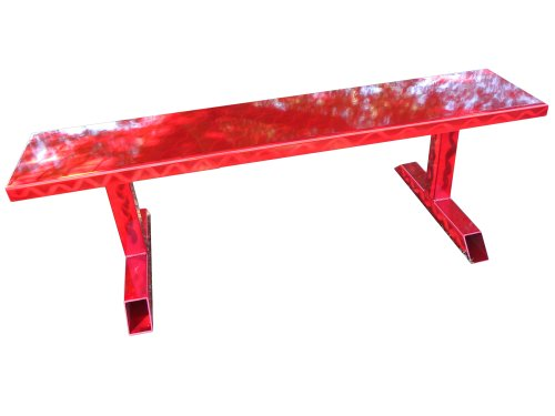 Ofab Custom Theme Tables Standard Backless Bench, Red Translucent