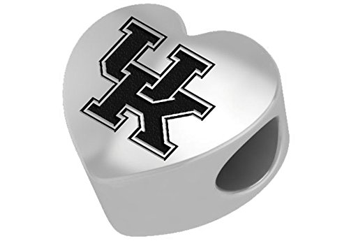 Kentucky Wildcats Sterling Silver Heart Bead Fits Most European Style Bracelets