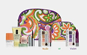 Clinique 2013 Fall 8 Pcs Skin Care & Makeup (Color Choice Violet or Nude) Gift Set (A $85 Value)