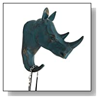 Herngee Rhino Head Single Wall Hook / Hanger Animal shaped Coat Hat Hook Heavy Duty, Rustic,Recycled, Decorative Gift , Rustic Bronze Color