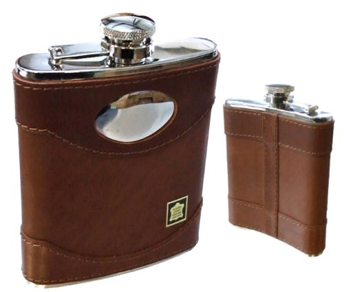 Personalised Engraved 6oz Genuine Brown Spanish Leather Bound Hip Flask
