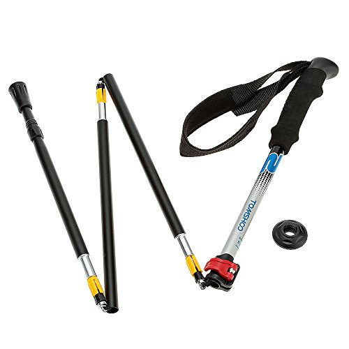 1Pc New External Level Lock Folding Trekking Pole 5 Section Aluminum Alloy Adjustable Telescopic Walking Stick - Black (Black Diamond Raven Ice Axe compare prices)
