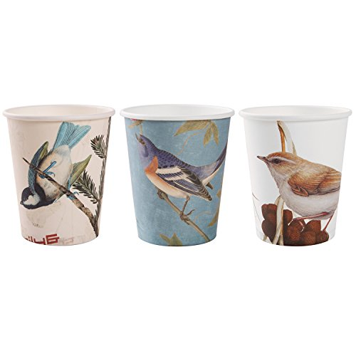 Alink Birds Design Tea Party Paper Cups, 24 Count