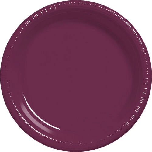 Amscan Big Party Pack 50 Count Plastic Dessert Plates, 7-Inch, Berry