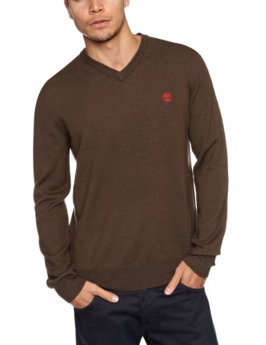 Timberland Merino V Neck Men's Jumper Cocoa Small