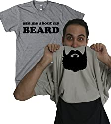 Ask Me About My Beard T Shirt Funny Facial Hair Flip Up Tee from Crazy Dog Tshirts