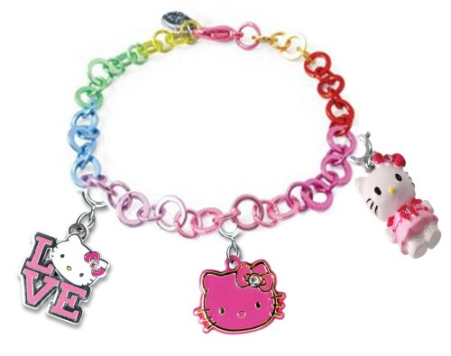 Licensed Sanrio Hello Kitty Set of 3 Kitty Charms with Rainbow Linked Bracelet
