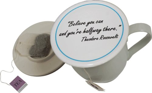 Tea Cup Cover/ Lid With Tea Bag Caddy - Believe