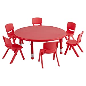 "ECR4Kids Round 45"" Resin Table with 6 12"" Resin Chairs, Red by ECR4Kids"