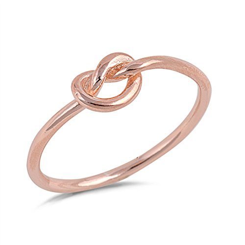 Rose Gold-Tone Infinity Knot Promise Ring .925 Sterling Silver Band Size 8 (RNG15668-8)