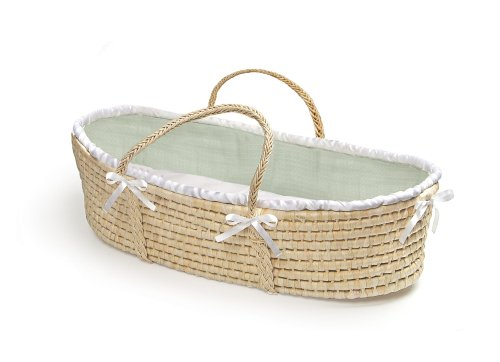 Badger Basket Company Natural Baby Moses Basket - Sage Waffle Bedding