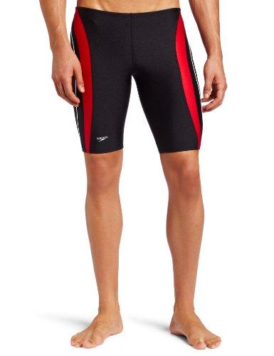 Speedo Men's Rapid Splice Xtra Life Lycra Jammer Swimsuit, Black/Red, 32 image