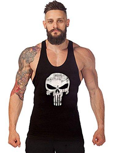 Gillbro T-shirt Mens GYM muscolare allenamento bodybuilding Canotta modello della lettera, B, M