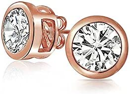 Bling Jewelry Bezel Set Round CZ Rose Gold Plating Sterling Silver Stud Earrings 6mm