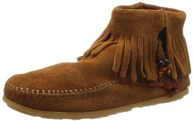 Minnetonka Women's Concho/Feather Side Zip Boot,Brown,5 M US