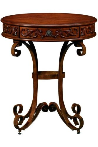 Cheap Heirloom Round End Table With Scroll Iron Base (B000IJKV6Q)