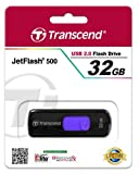 Transcend 32 GB JetFlash 500 Retractable USB 2.0 Flash Drive - TS32GJF500 (Black)