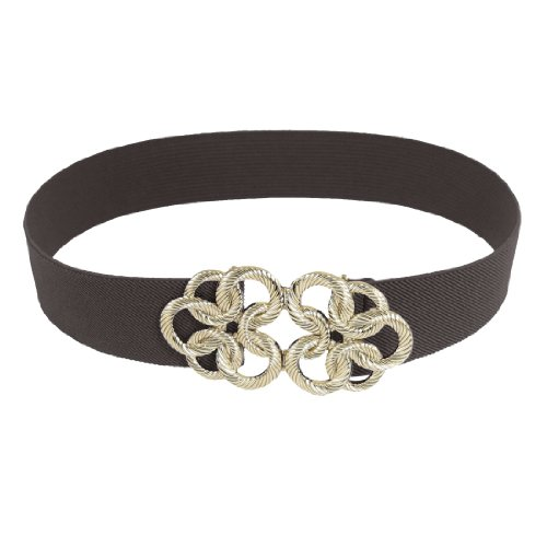 Lady Gold Tone Circle Flower Buckle Coffee Color Elastic Waist Cinch Belt