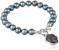 "Honora ""Rock Star"" Freshwater Cultured Pearl and Black Agate Drusy 7.5″ Toggle Strand Bracelet"