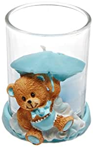 Forum Novelties It's a Boy Baby Blue Teddy Bear Candle Holder Shower Party Favor Decoration