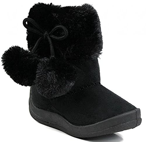 4. Kali Footwear Little Girl's Bany Flat  Pom Pom Ankle Boot