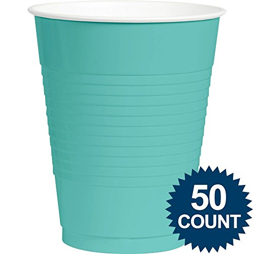Amscan Big Party Pack 50 Count Plastic Cups, 16-Ounce, Robbins Egg Blue