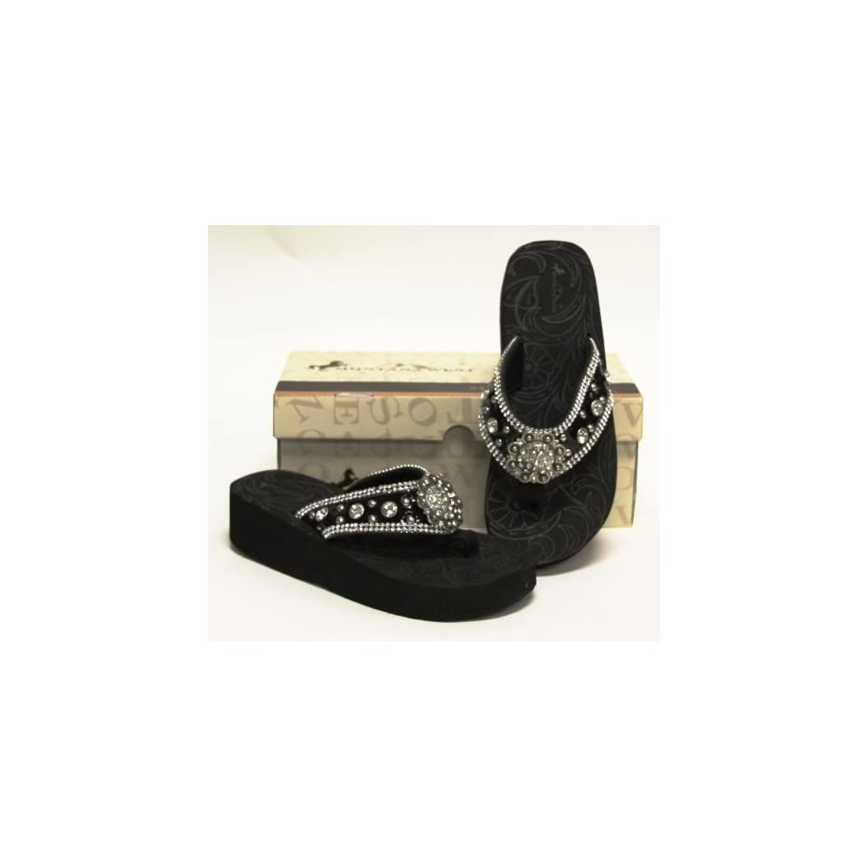 cce5ec53d Montana West Rhinestone Bling Flip Flop Sandals Womens Wedge Black ...