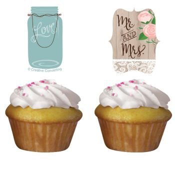 Rustic Wedding Cupcake Toppers 12 Per Pack by Creative Converting (Bridal Shower Cupcake Toppers compare prices)